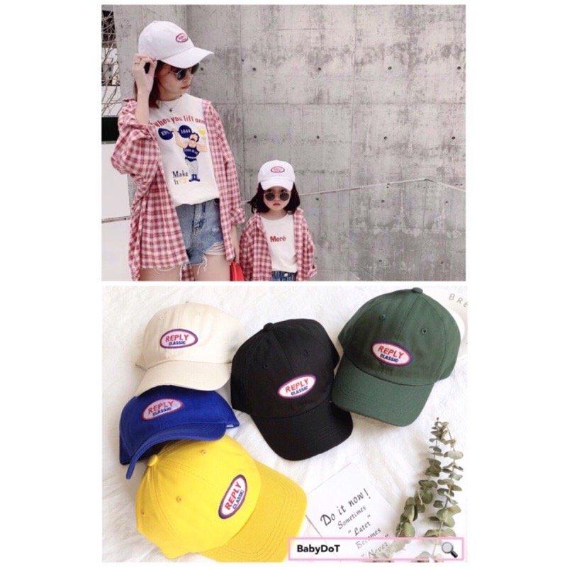 ??♀️親子款✨REPLY 兒童棒球帽 父子鴨舌帽 男女棒球帽 男女童彎帽老帽 幼兒遮陽帽 亮色帽 夏天韓國帽子