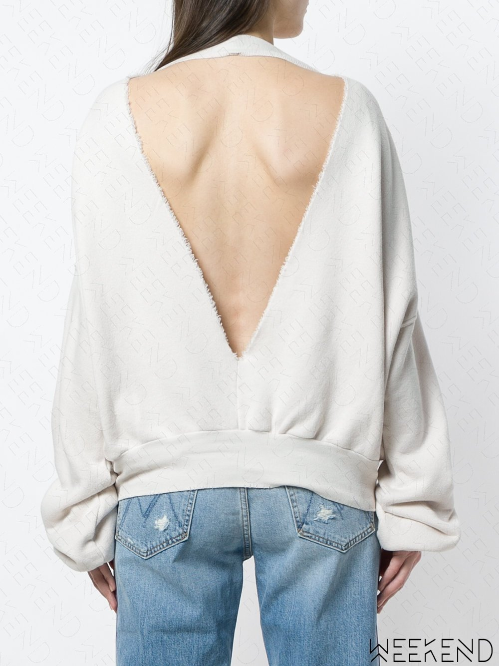 【WEEKEND】 UNRAVEL 大深V 露背 落肩 寬鬆 長袖 衛衣 上衣 米白色 18春夏新款