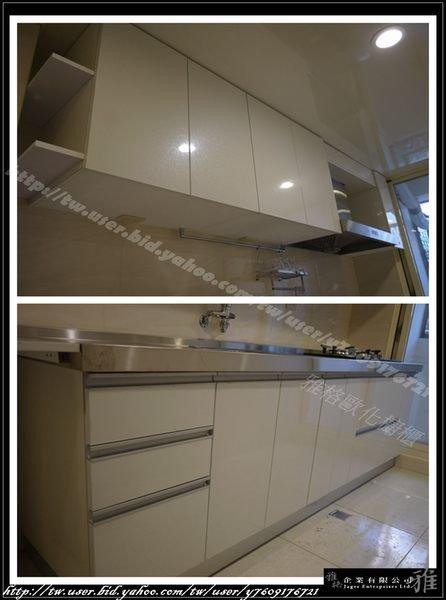 【雅格櫥櫃】工廠直營~一字型廚櫃、流理台、廚具、不鏽鋼檯面、櫻花玻璃兩口檯面爐