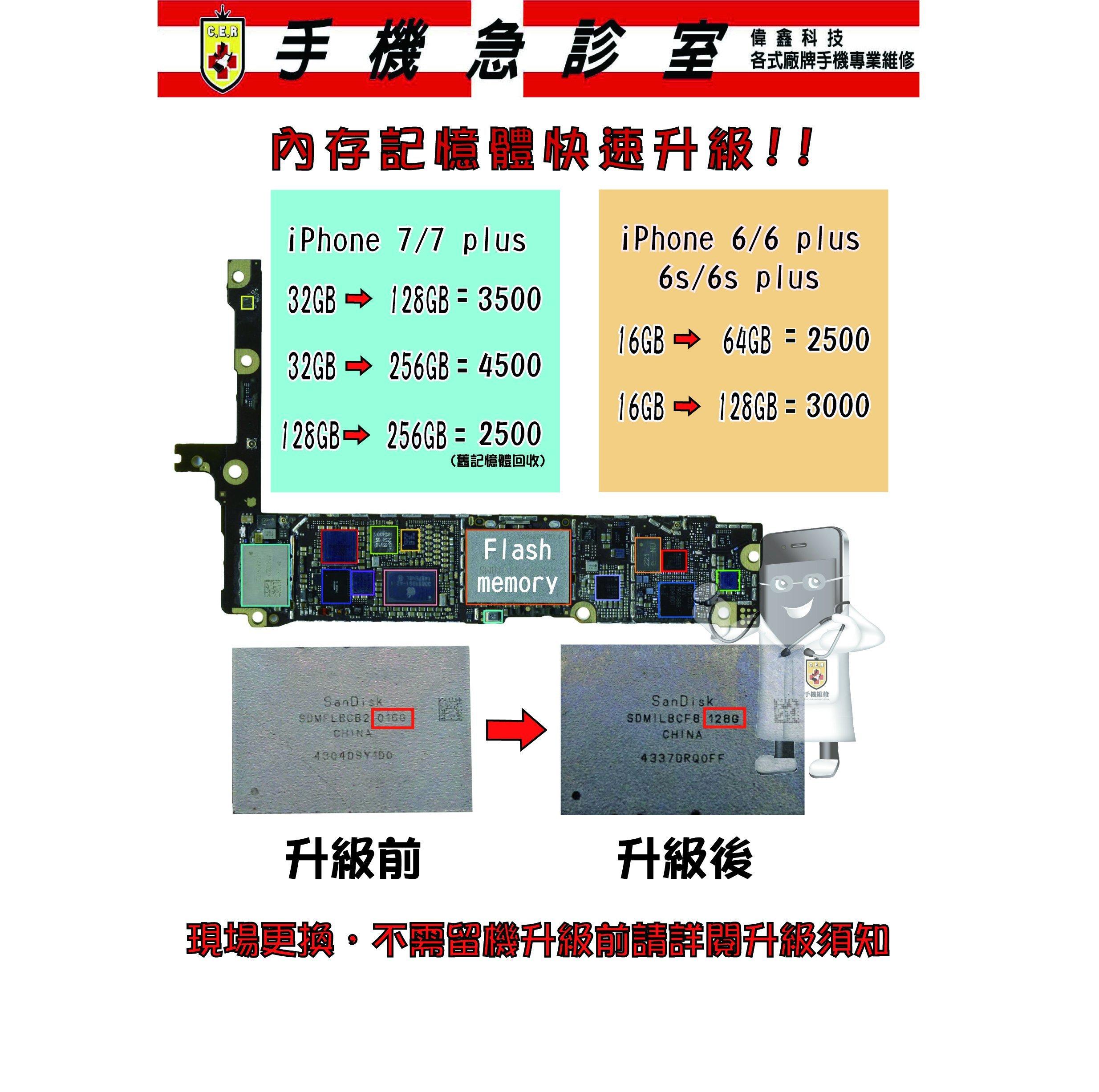 手機急診室 APPLE IPHONE 6 6S 6 Plus 6s plus 7 7+容量修改 主機板維修 容量升級