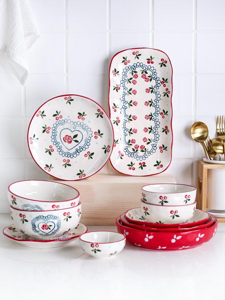 小姐姐『居家』10贈1活動~~可愛櫻桃陶瓷餐具家用吃飯碗麵碗湯碗 盤子菜盤魚盤
