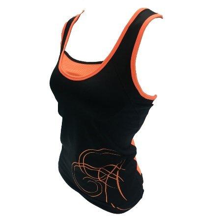 塞爾提克~SOFO RUN慢跑YOGA瑜珈 女生運動背心(黑亮橘-背網)原價1480.直購390~吸濕快排
