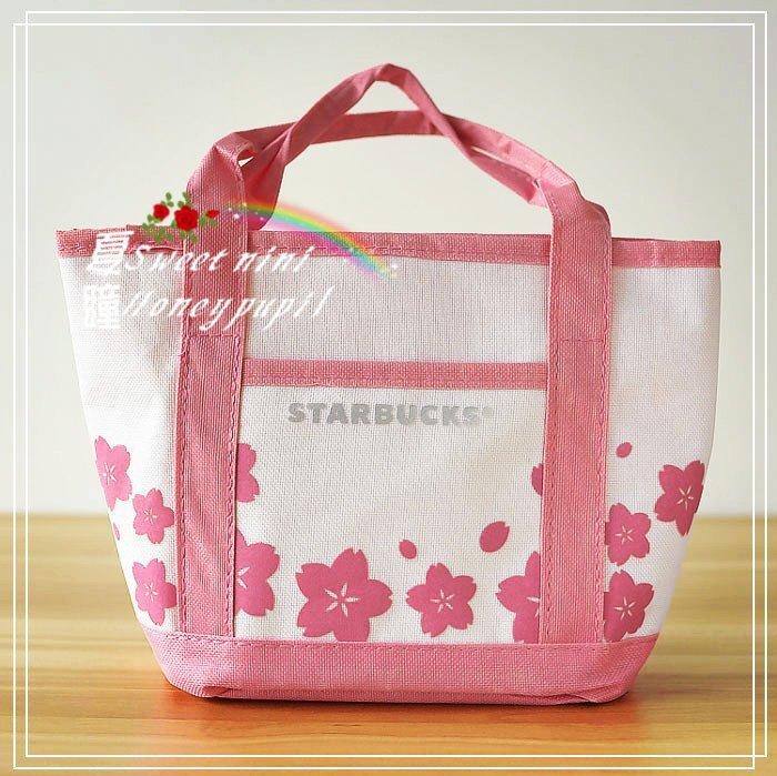 夏瞳✿ 鄉村雜貨✿✿♡ ╰☆ Starbucks星巴克花漾櫻花限定款 便當袋 收納袋 手提包  手提袋☆╮