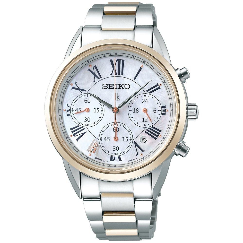 可議價 「1958 鐘錶城」SEIKO 精工 LUKIA 時尚羅馬太陽能計時女錶SSC820J1