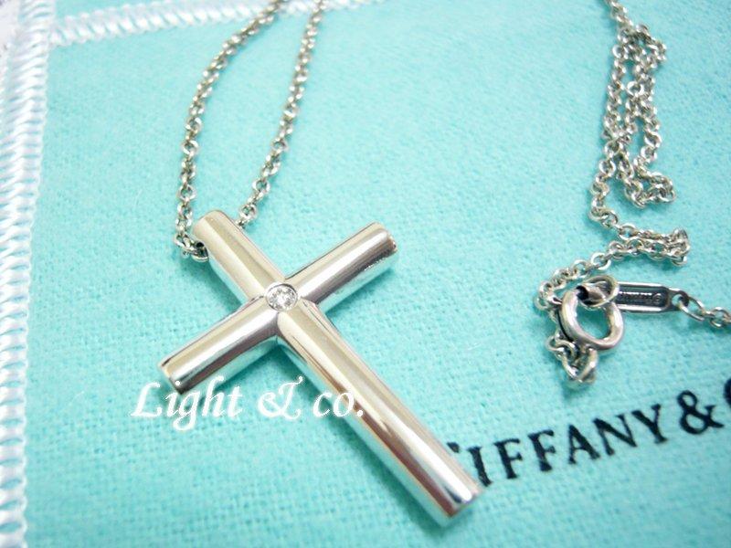 【Light & co.】專櫃真品已送洗 TIFFANY & CO 925純銀 鑲鑽 十字架 項鍊  十字 鑽石