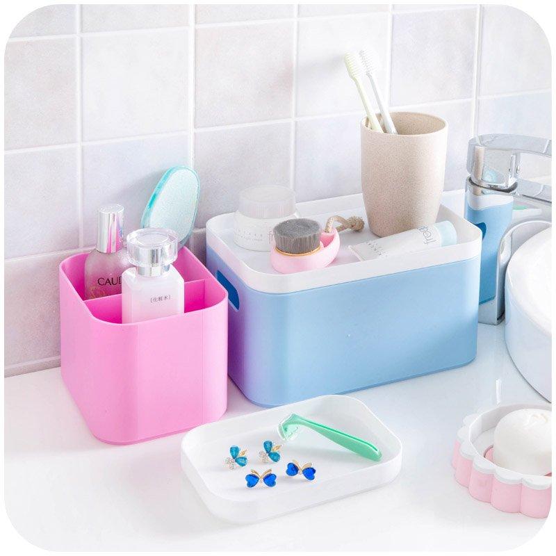 居家居家家 桌面塑料雜物收納盒化妝品盒子 護膚品遙控器整理盒儲物盒
