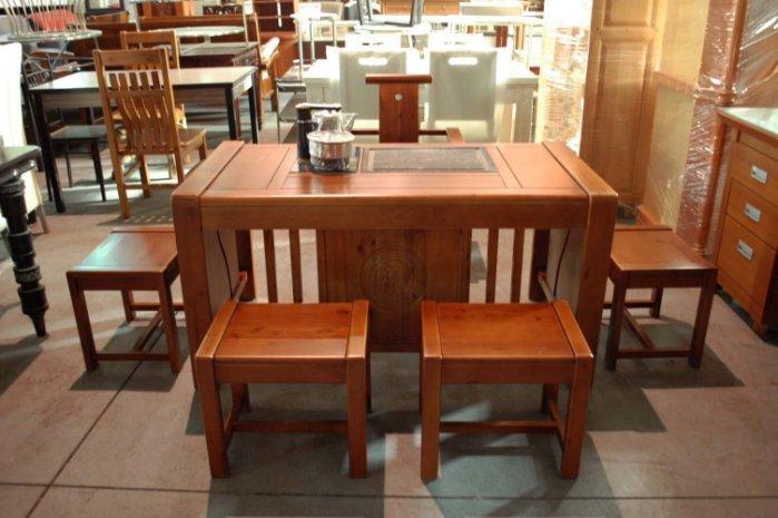 大台南冠均二手貨--全新 樟木實木 泡茶桌椅組 休閒桌椅 1桌+5椅 附 茶盤 煮水機 工廠直營~批發優惠 *原木家具
