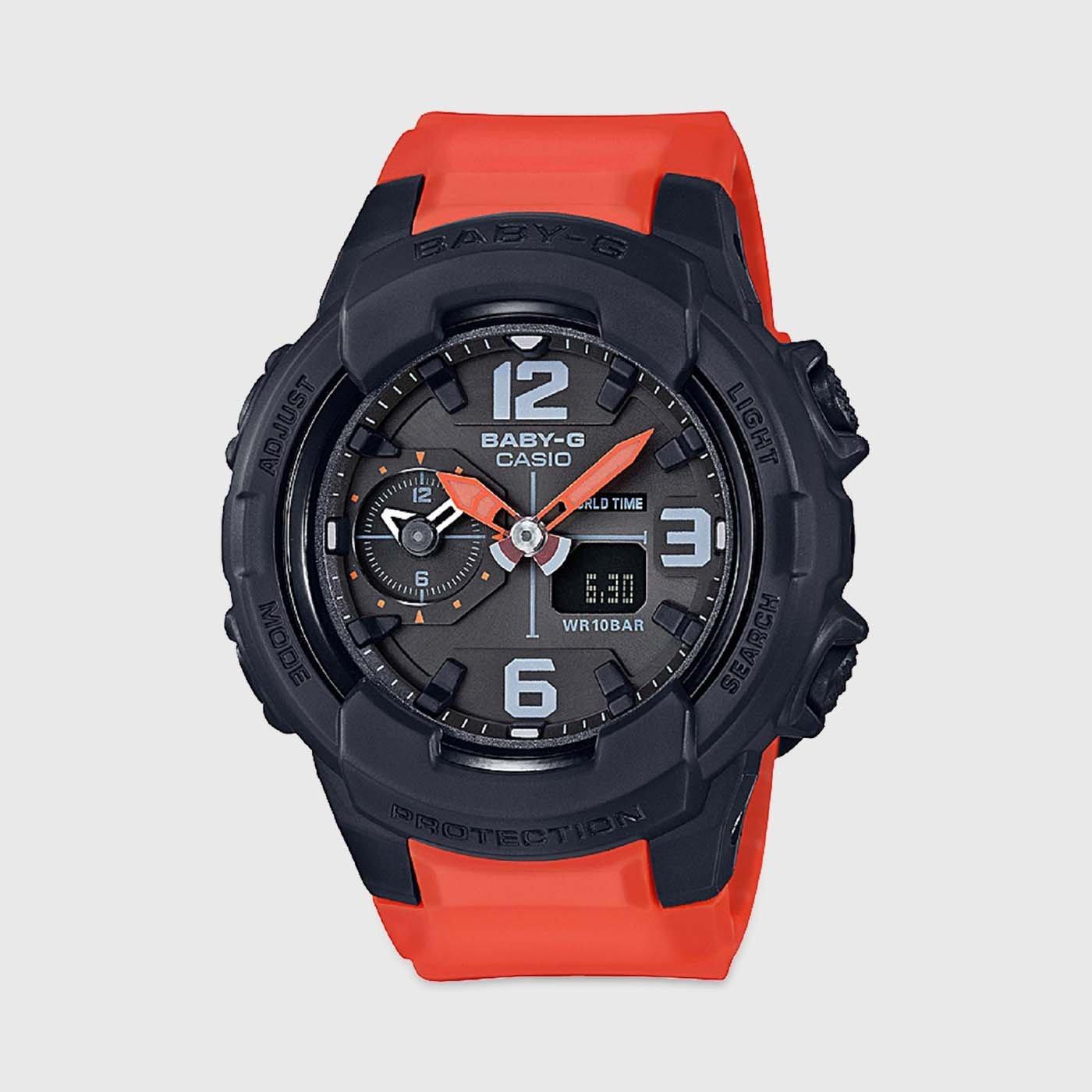 [永達利鐘錶] BABY-G 黑殼橘帶 黑底 雙顯 電子運動錶/ BGA-230-4BDR 原廠公司貨 保固一年