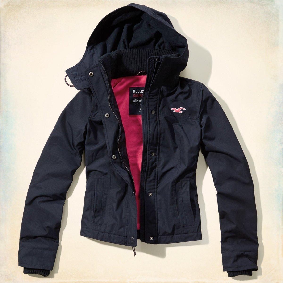 Hollister All-Weather Jacket Navy Color (XS) 女生 全天候 防風外套