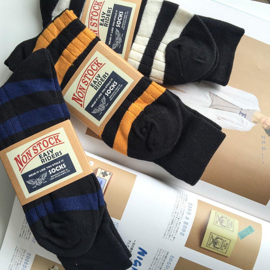 RRL風格 美式復古 粗線條紋襪 純棉中高筒 囚犯襪