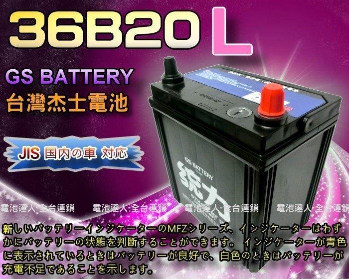 【允豪 電池達人】杰士 GS 統力 電池 36B20L 電瓶適用 豐田 本田 FIT 現代 i10 ALTIS CITY