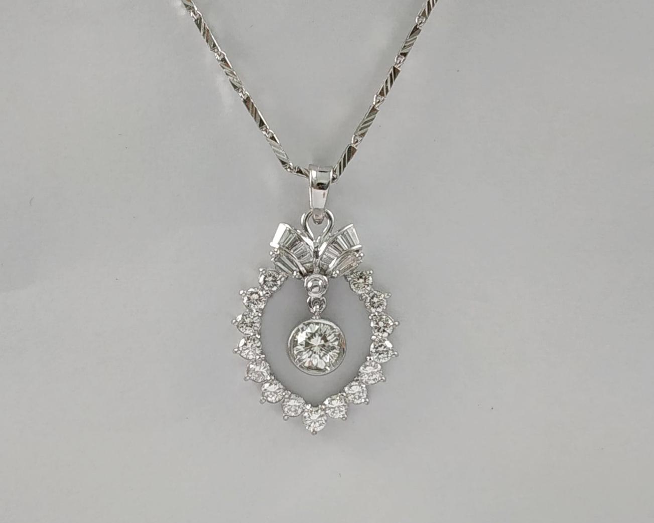順利當舖  1.05ct 華麗造型台淑女鑽石墜子項鍊