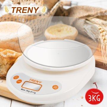 【ONE市集】TRENY 烘焙料理秤(大托盤)3KG 料理秤 電子秤 液晶顯示 麵包 點心 廚房必備 8620