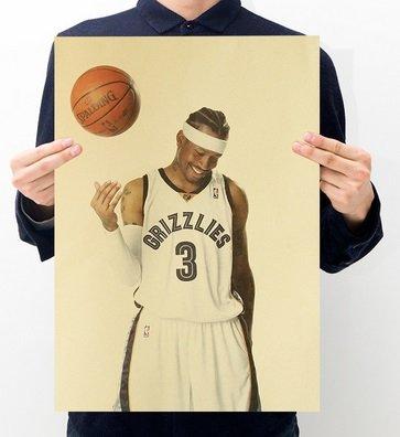 【貼貼屋】NBA 艾倫·艾佛森 Allen Iverson 戰神 籃球 牛皮紙海報 壁貼 懷舊復古 店面裝飾A20