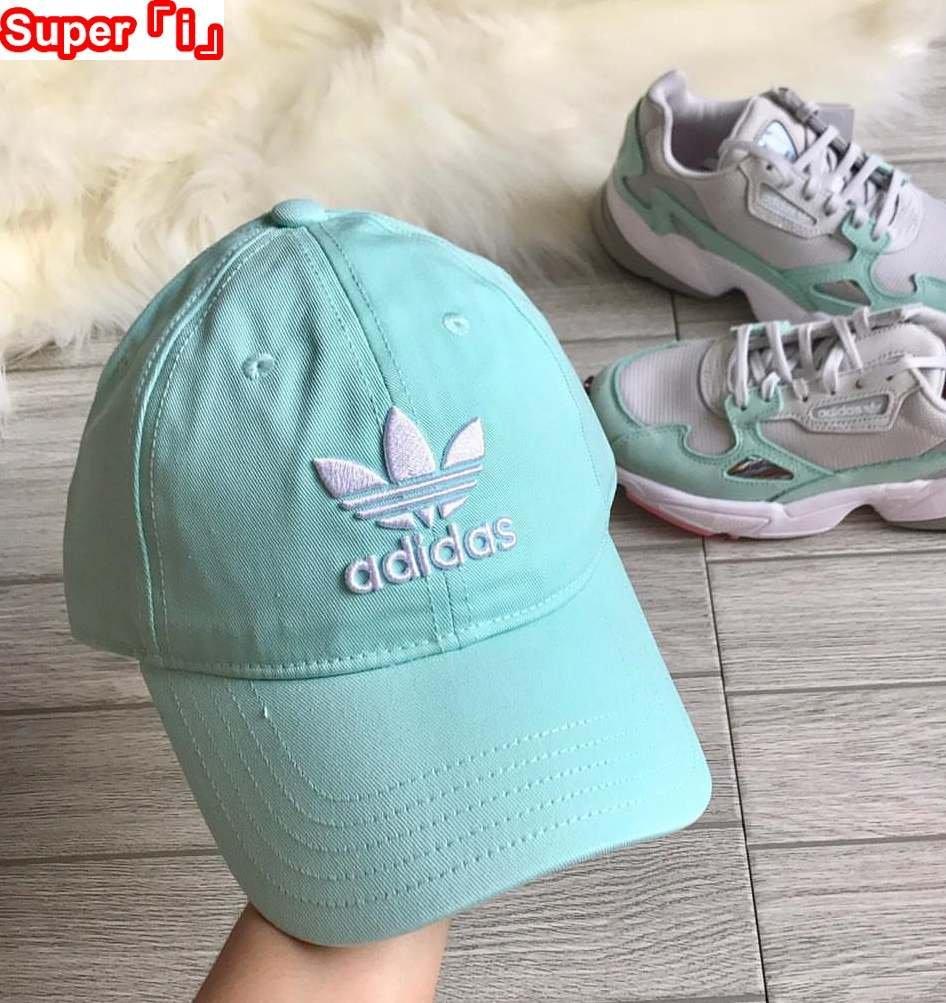 「i」【現貨】Adidas Originals Trefoil 粉綠 三葉草 男女可調節 電繡 帽 老帽 DJ0883