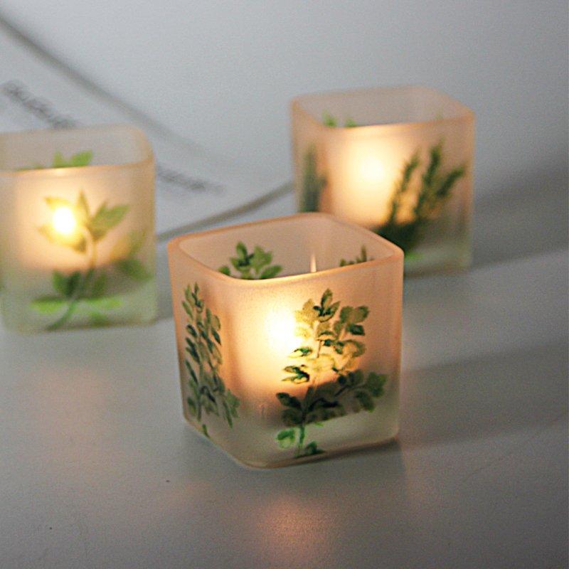 熱銷#清新5CM綠植印花方玻璃燭臺浪漫家居燭光晚餐裝飾擺設送電子蠟燭#燭臺#裝飾