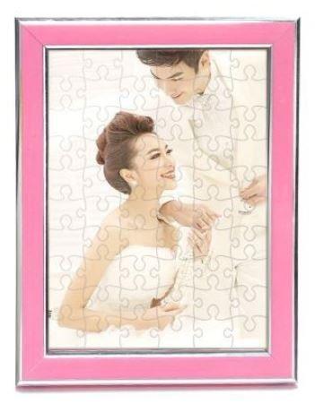 【i930 小舖】A4拼圖相框--玫红色(含A4拼圖)、客製化來圖訂做A4拼圖框畫框情人節生日結婚廣告 贈品動漫