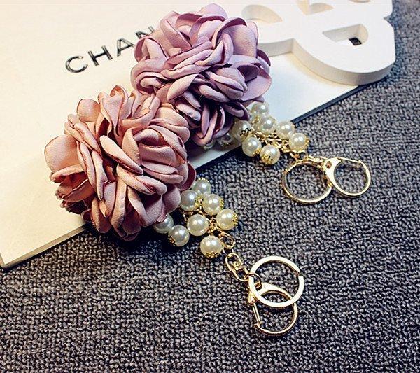 韓國 布藝仿真燙邊 玫瑰花 珍珠  吊飾 鑰匙扣 包包掛飾