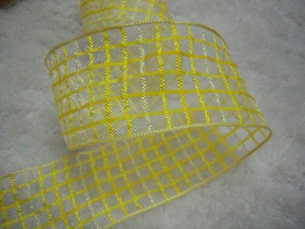 地帶~黃色格子4公分紗帶35尺100元 .包裝.髮飾.婚禮佈置PB4