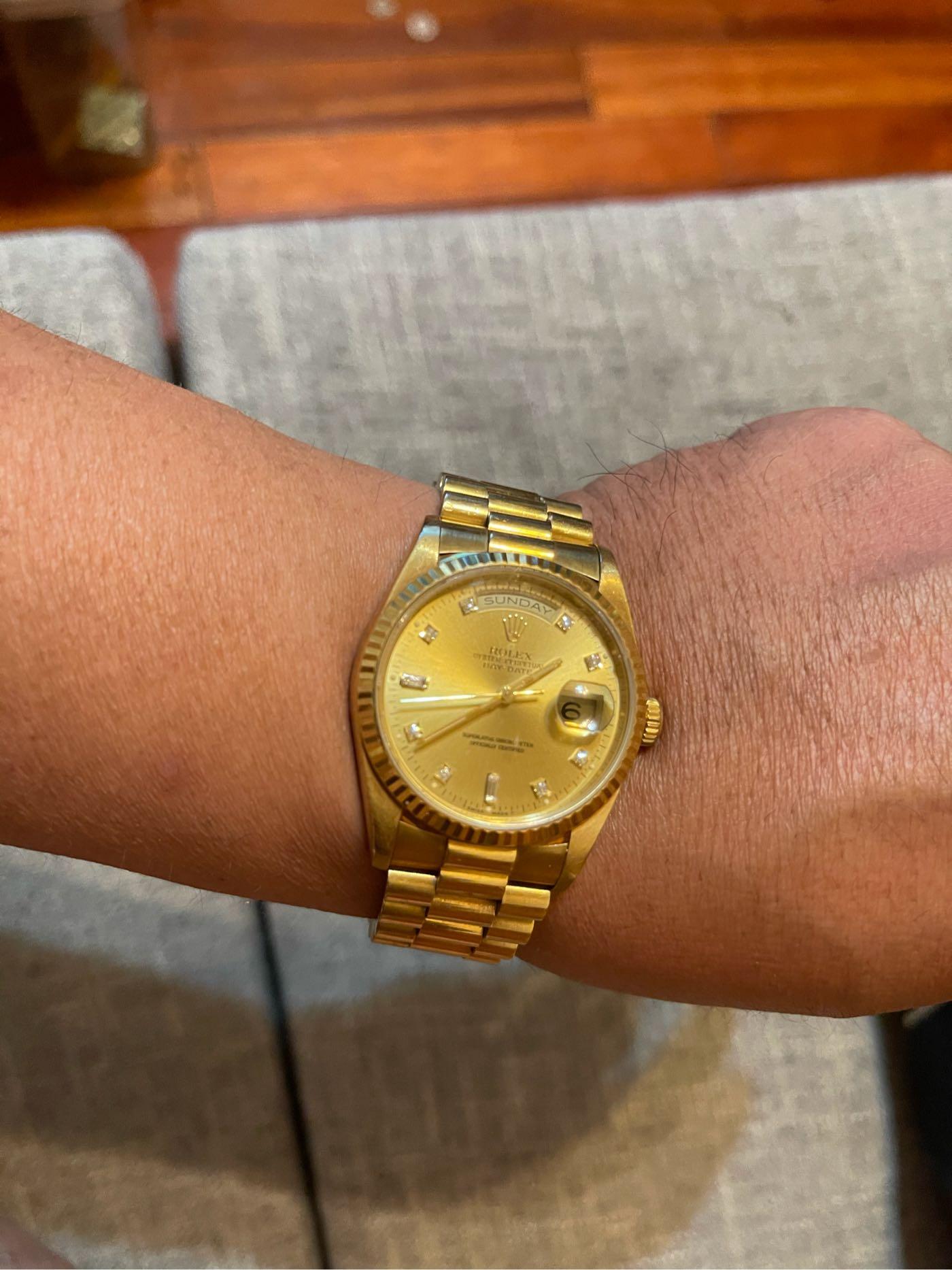 原裝勞力士 紅蟳 18238  鑽石面盤.無拋整過極美。錶帶緊實,少見美品。