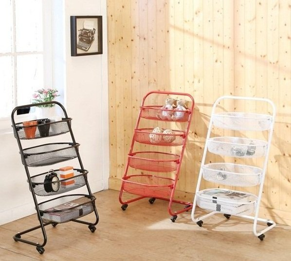 《魔手坊》M-烤漆四層活動籃網置物推車 置物籃 收納架 公文架(三色可選)