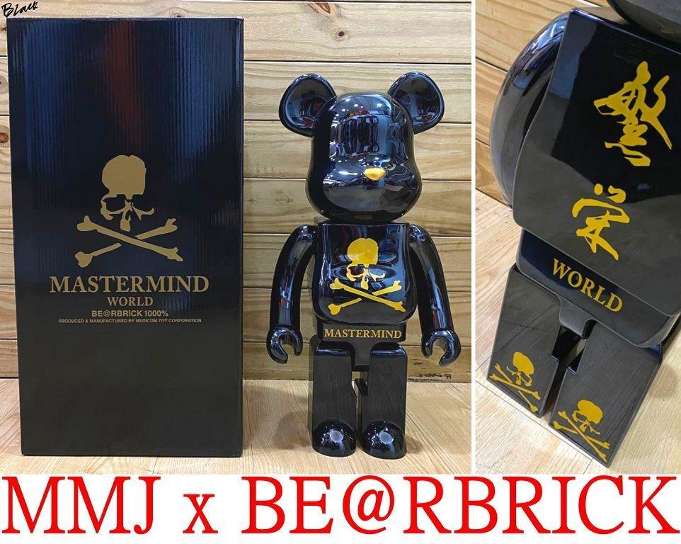 BLACK台灣唯一!全新MASTERMIND JAPAN x BE@RBRICK庫柏力克熊WORLD繁榮1000%公仔