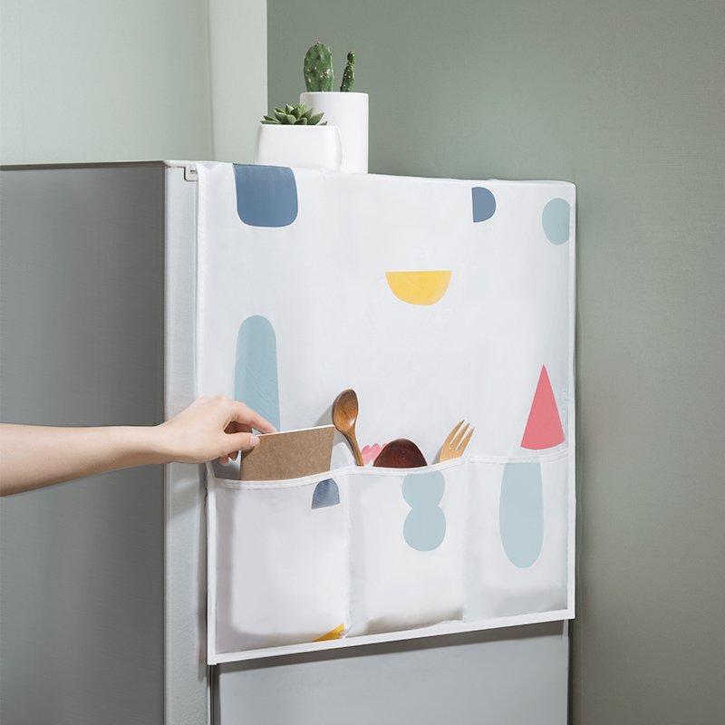 SX千貨鋪-冰箱防塵罩冰箱收納掛袋防塵布收納袋式冰箱置物袋單開門冰箱蓋布#門把套#門吸#防撞#防滑套#靜音膠