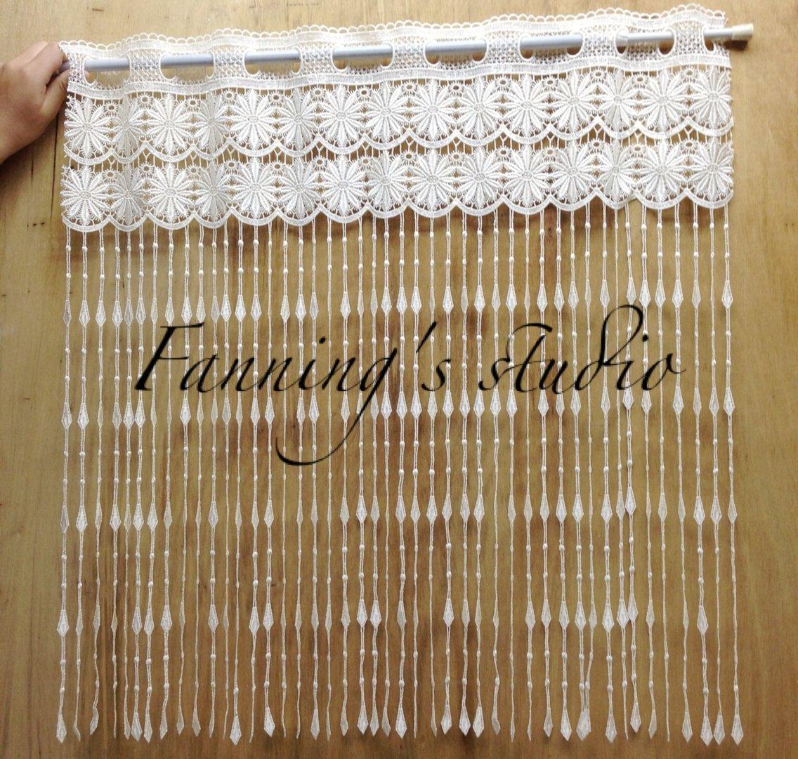 【芬妮卡Fanning服飾材料工坊】小菊花x菱形格窗簾蕾絲 高75cm 1尺入 米白色