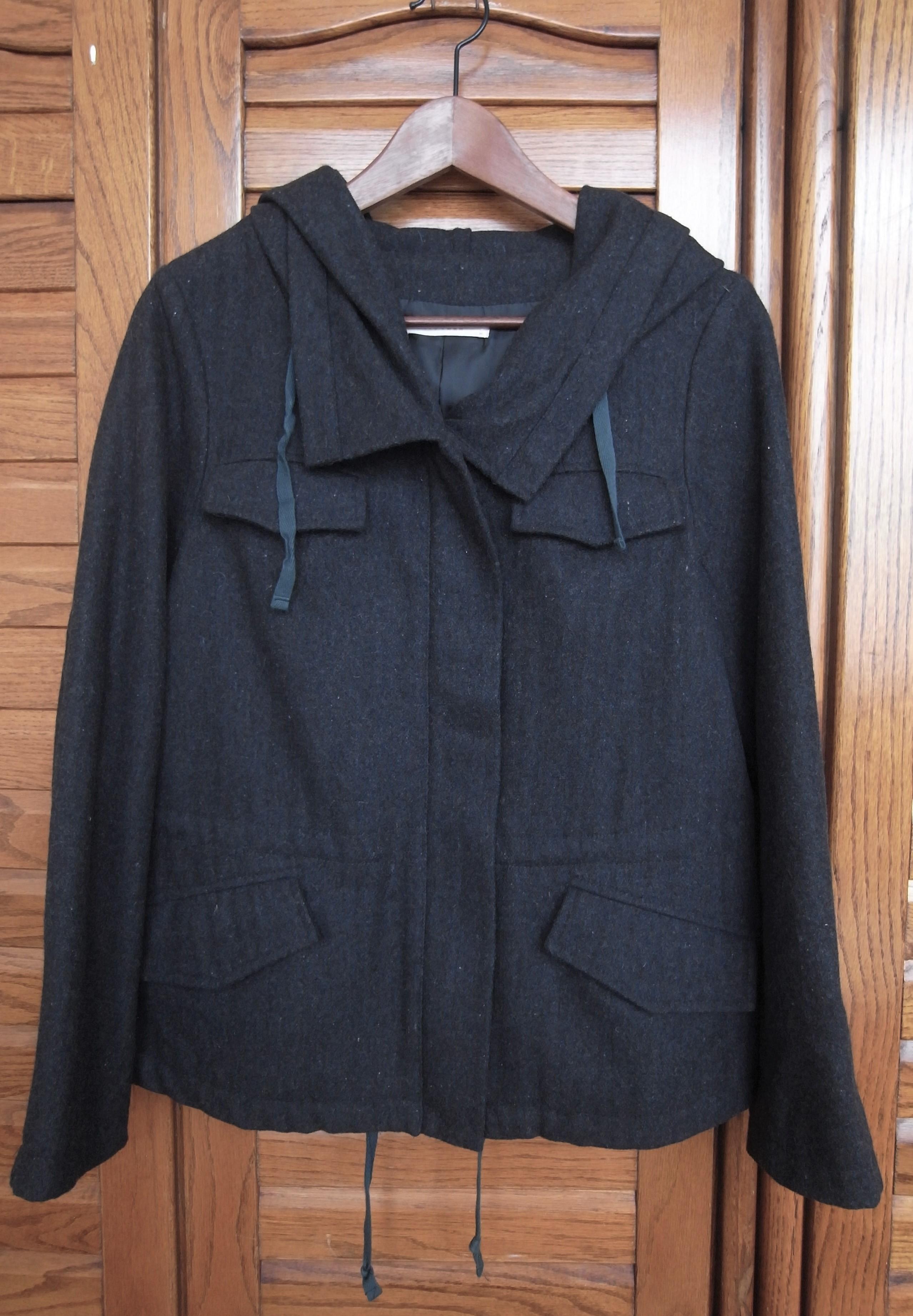 Lowrys farm 60% 羊毛 連帽 短大衣 外套 深灰色 M號