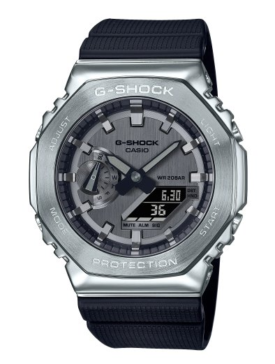 【萬錶行】CASIO G-SHOCK 簡約獨特金屬質感八角型錶殼  GM-2100-1A
