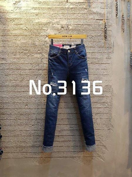 韓國正品-(現貨) -新款 How Luk No..3136 刷破褲腳鬚邊車摺彈性牛仔褲 - S號