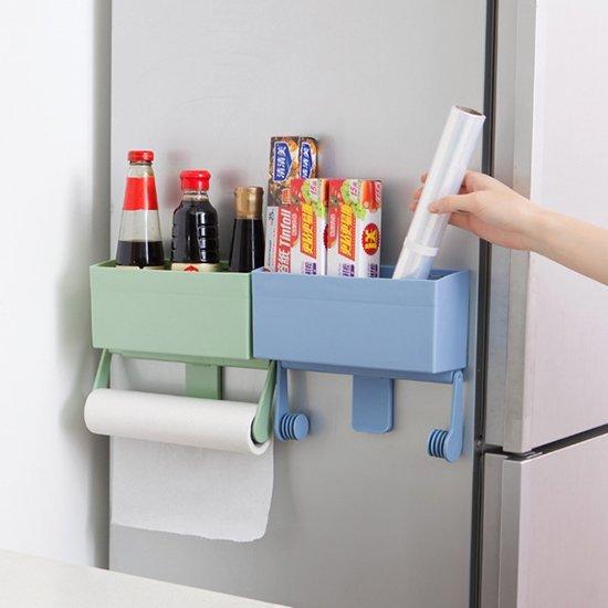 Color_me【A001-3】冰箱 掛架 強力磁鐵 收納架 保鮮膜 紙巾架 置物架 收納架 整理 分類 捲紙架