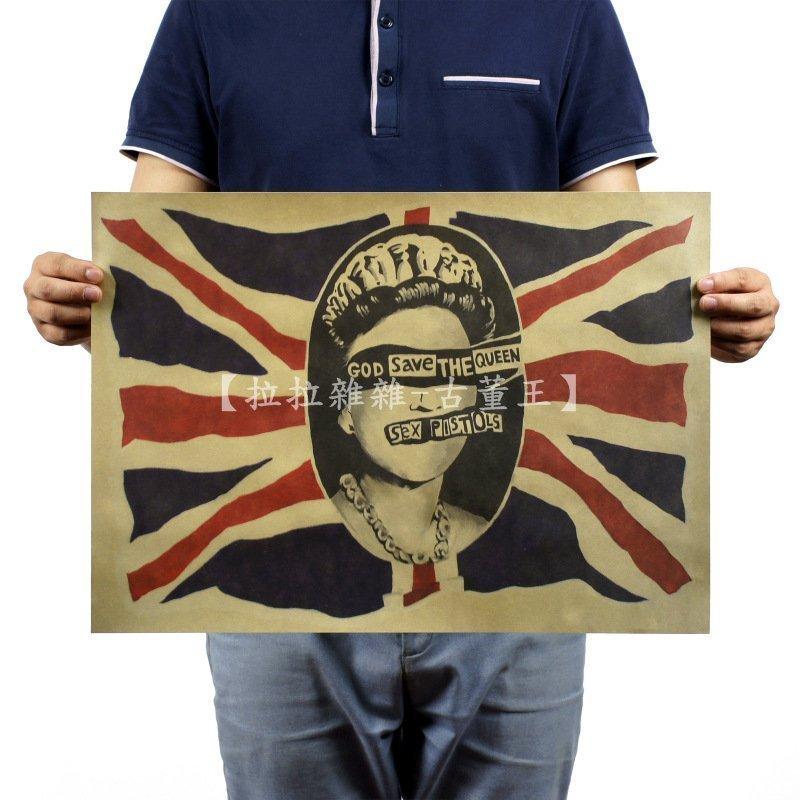 【貼貼屋】惡搞英國女王 英國國旗 店面裝飾 懷舊復古 牛皮紙 海報 電影海報 535