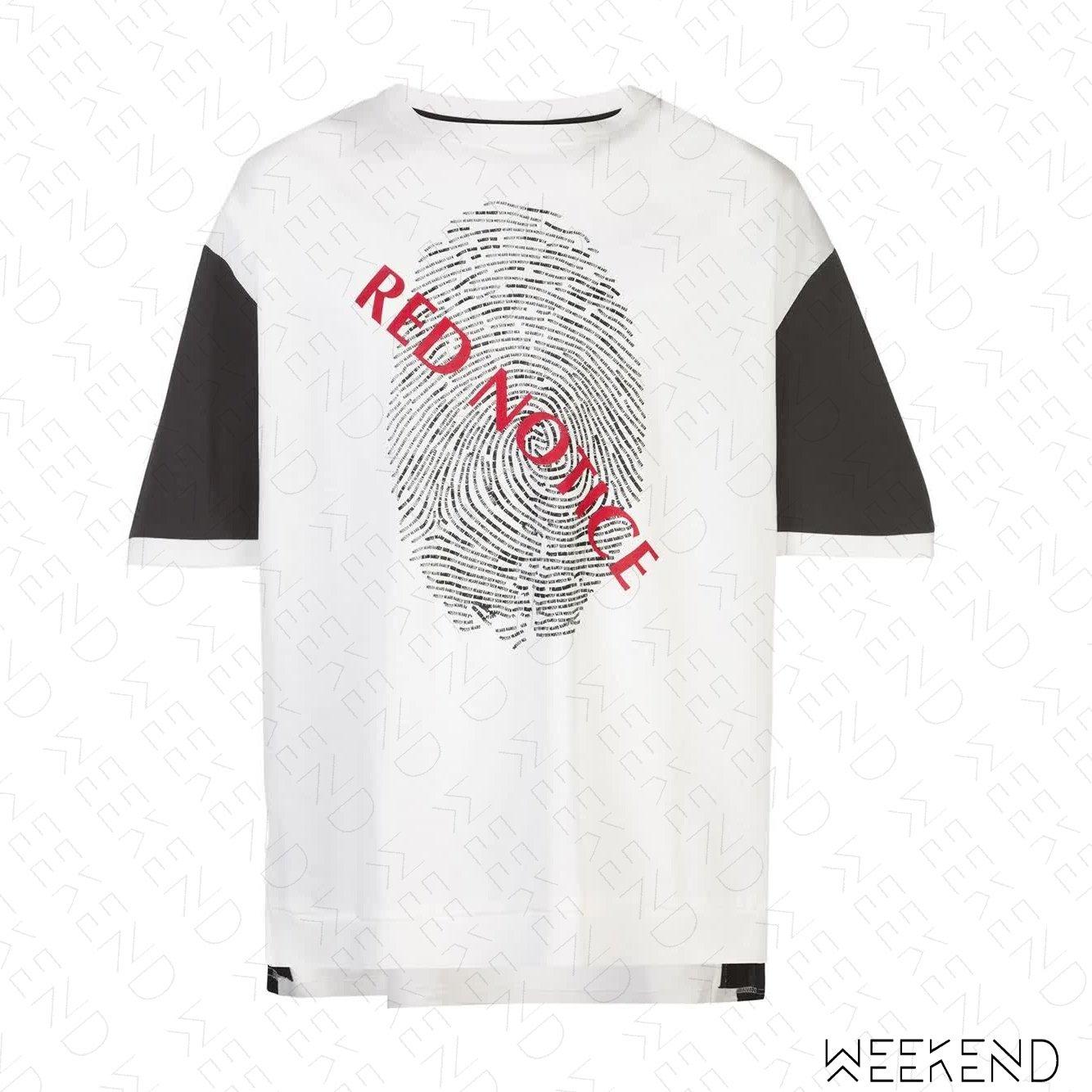 【WEEKEND】 MOSTLT HEARD RARELY SEEN MHRS 指紋印圖 拼接 寬鬆 T恤 黑白