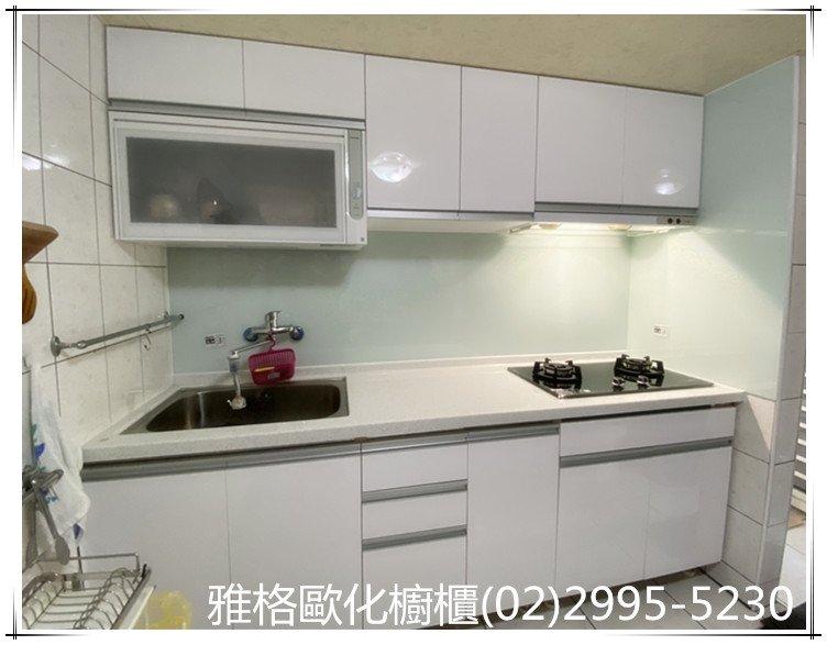 【雅格廚櫃】工廠直營 -一字型、229cm、 廚櫃、廚具、櫻花三機、樂天人造石、烤漆玻璃