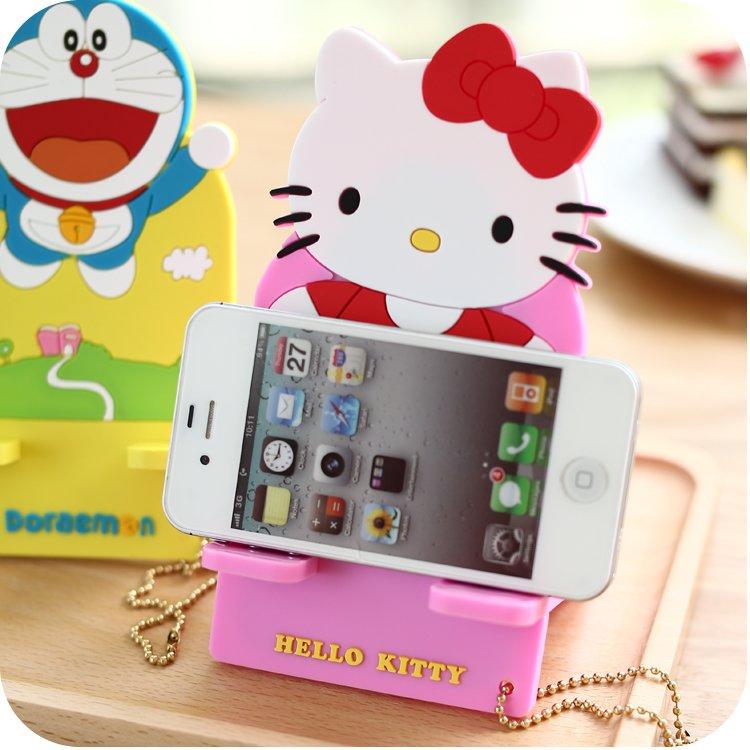 hello kitty卡通桌面床頭手機座 可愛懶人充電手機支架座
