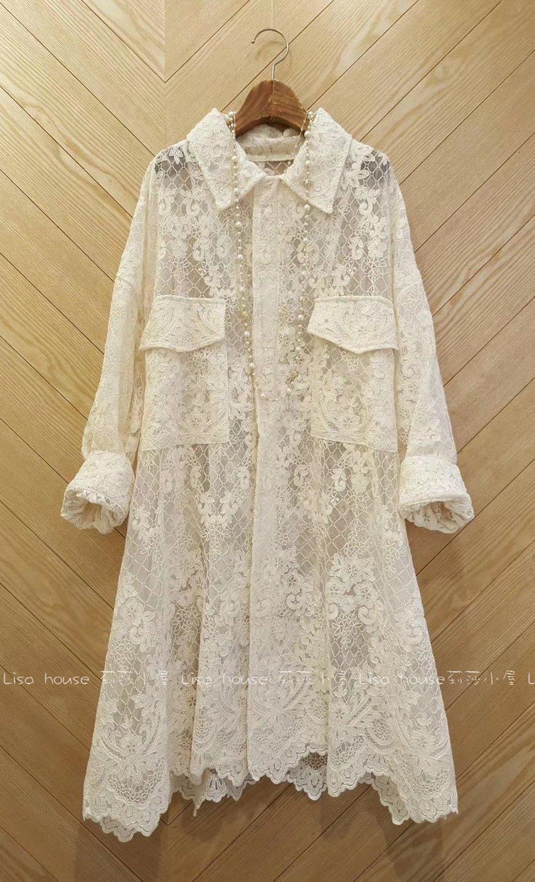 【莉莎小屋】正韓 秋冬新品(現貨) 💝韓國連線代購-質感蕾絲大口袋格蕾絲花拉鍊外套👚👖OS200928