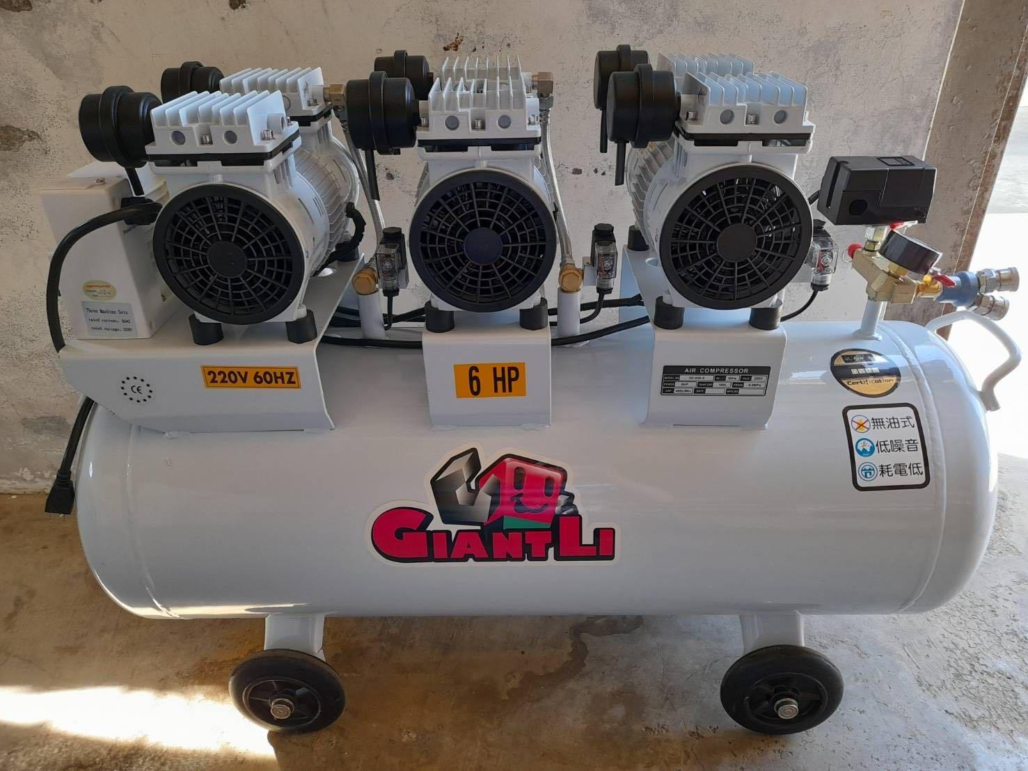 """""""工具醫院""""  風霸 GFOX 工具人 GIANTLI 6HP 100L 三馬達 六汽缸 空壓機 無油式空壓機 超靜音空壓 !(特價)"""