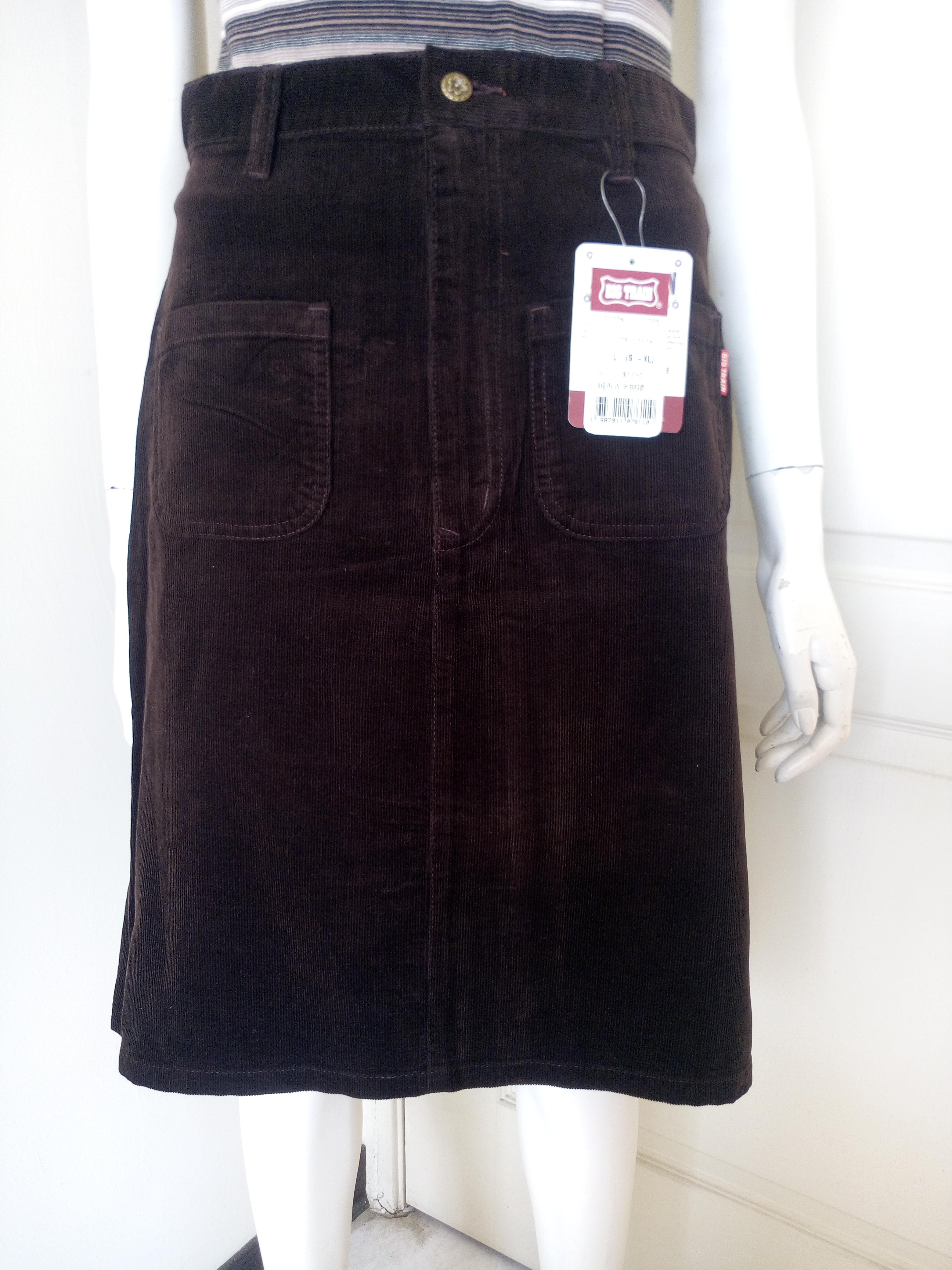 【新品有吊牌】牌價1250的專櫃BIG TRAIN深咖啡色絨布A字短裙,清衣櫃價120(女、SIZE:L號)