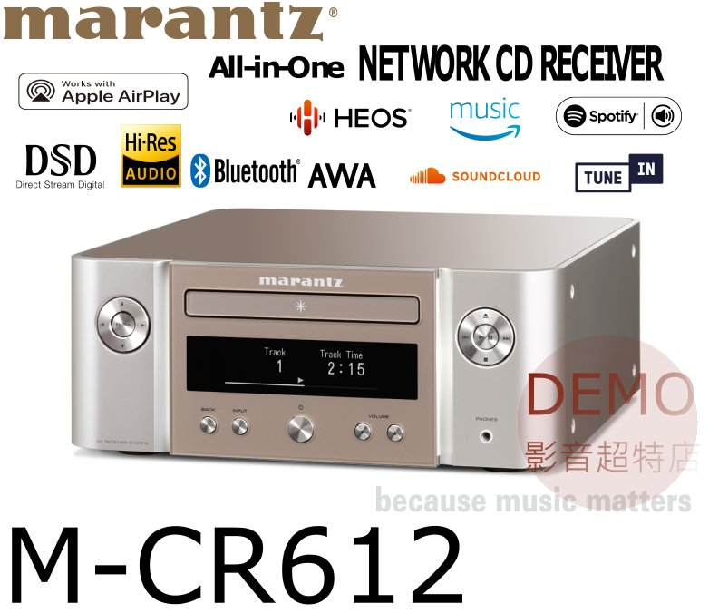 ㊑DEMO影音超特店㍿日本Marantz M-CR612 CD 網路收音擴大機 附中說