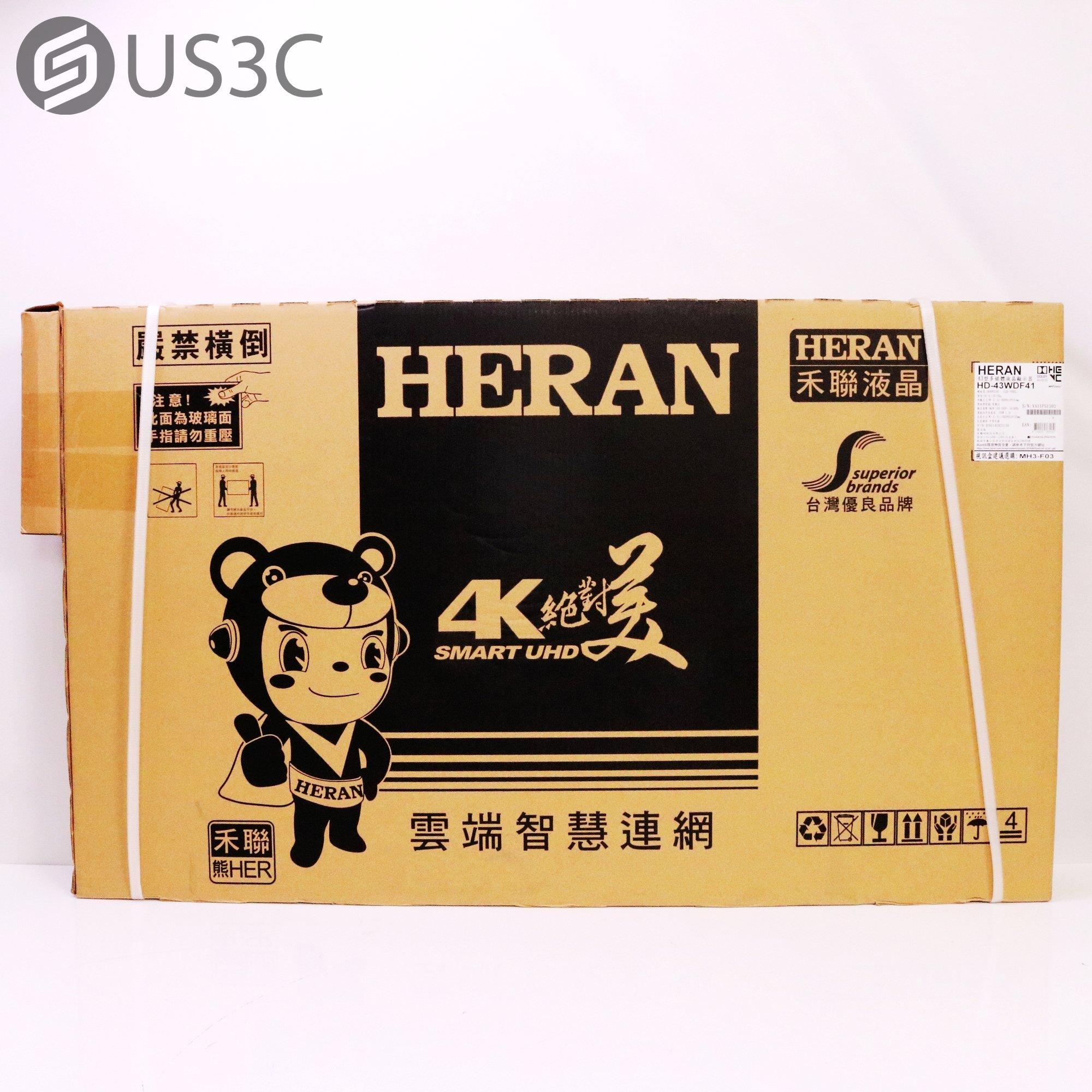 【US3C-台中店】【全新未拆】禾聯 HERAN HD-43WDF41 43型 4K 智慧連網 護眼低藍光 液晶顯示器 原廠保固內