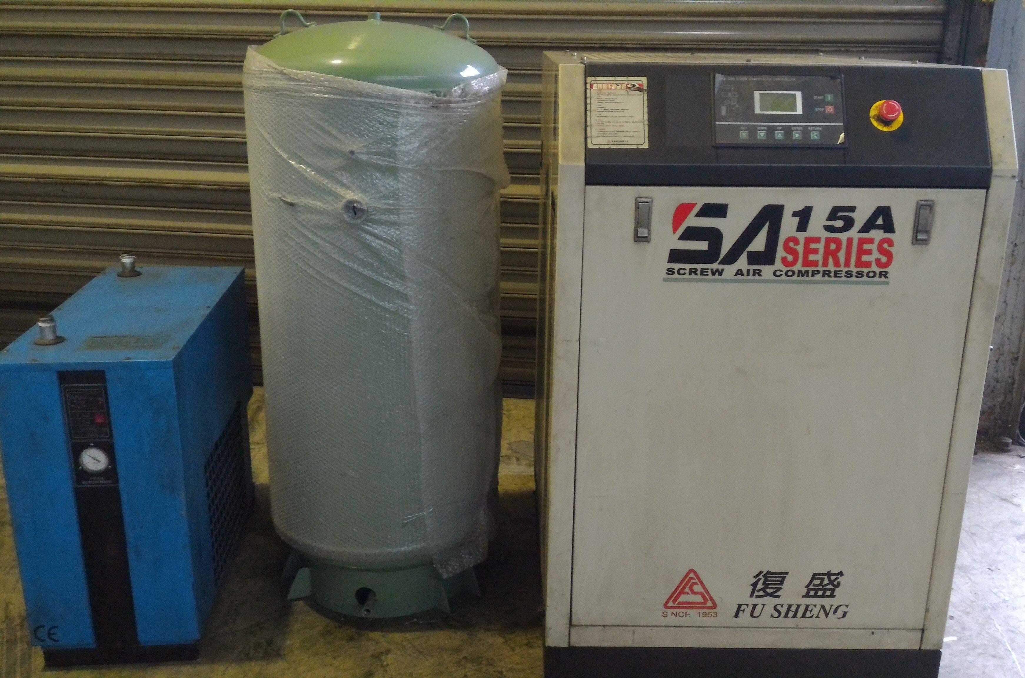 國內知名大廠復盛 20HP螺旋式空壓機(三相 220V 含360L儲氣桶  創業好選擇)