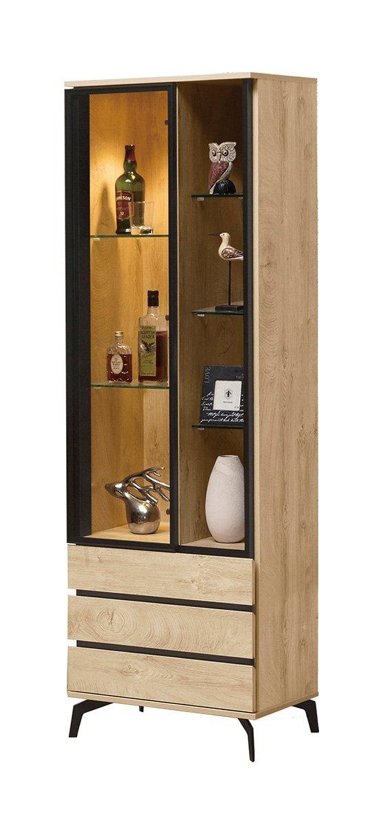 【森可家居】凱莉莎2尺展示櫃 8ZX581-3 客廳收納 玻璃 酒櫃 模型櫃 木紋
