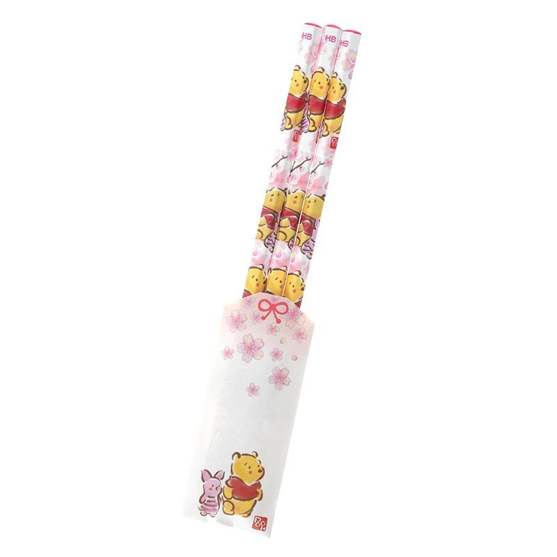 *FollowV* Disney迪士尼商店《 》春日櫻花飛舞 小熊維尼與粉紅小豬 和式手繪風格 HB鉛筆3入 製