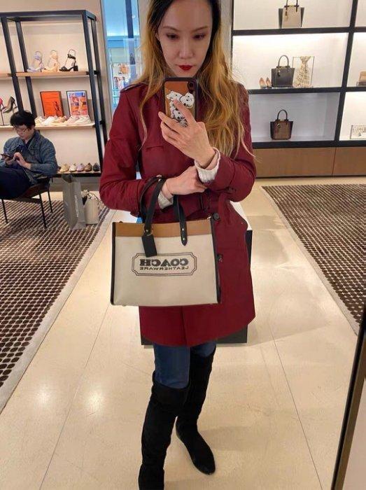 (Outlet特惠)COACH 89488 89163 新款女士拼色帆布手提包 單肩背包  附購買證明