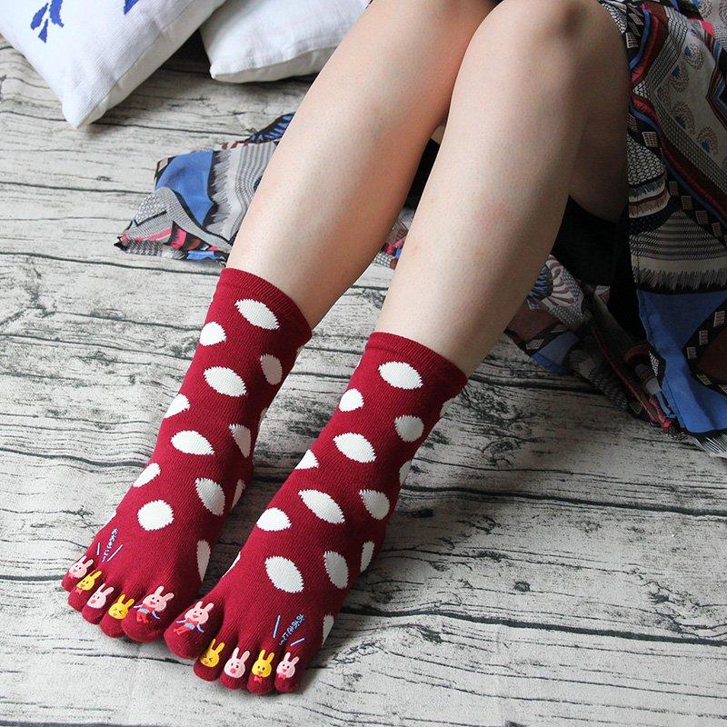 【berry_lin107營業中】純棉五指襪 女生中筒吸汗可愛純棉五指襪 全棉分腳趾女襪 波點兔