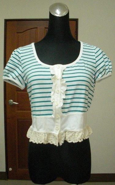 ☆Show shop☆ POONE 專櫃品牌海軍風綠白條紋拼接布蕾絲下襬珠釦短版外套☆