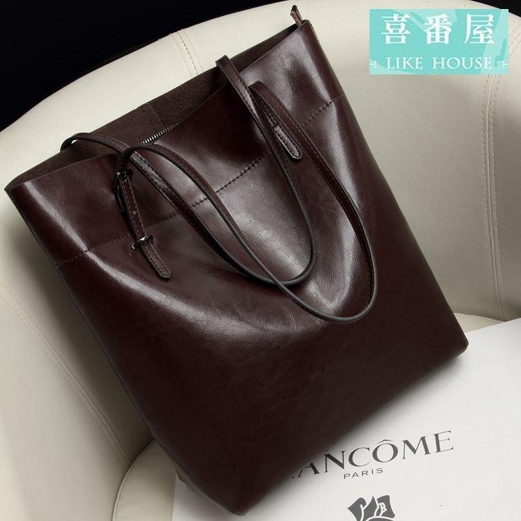 【喜番屋】真皮油蠟牛皮復古大容量女士通勤托特包手提包手提袋購物袋購物包女包【LB162】