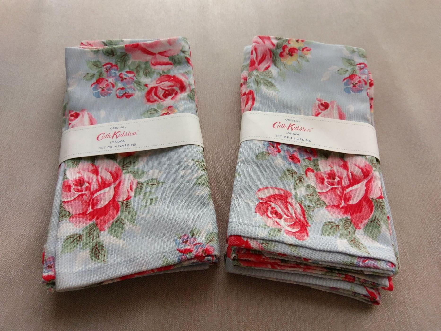 全新英國Cath Kidston經典花色English Rose英倫玫瑰100%純棉餐巾(45cmx45cm) 每組四個