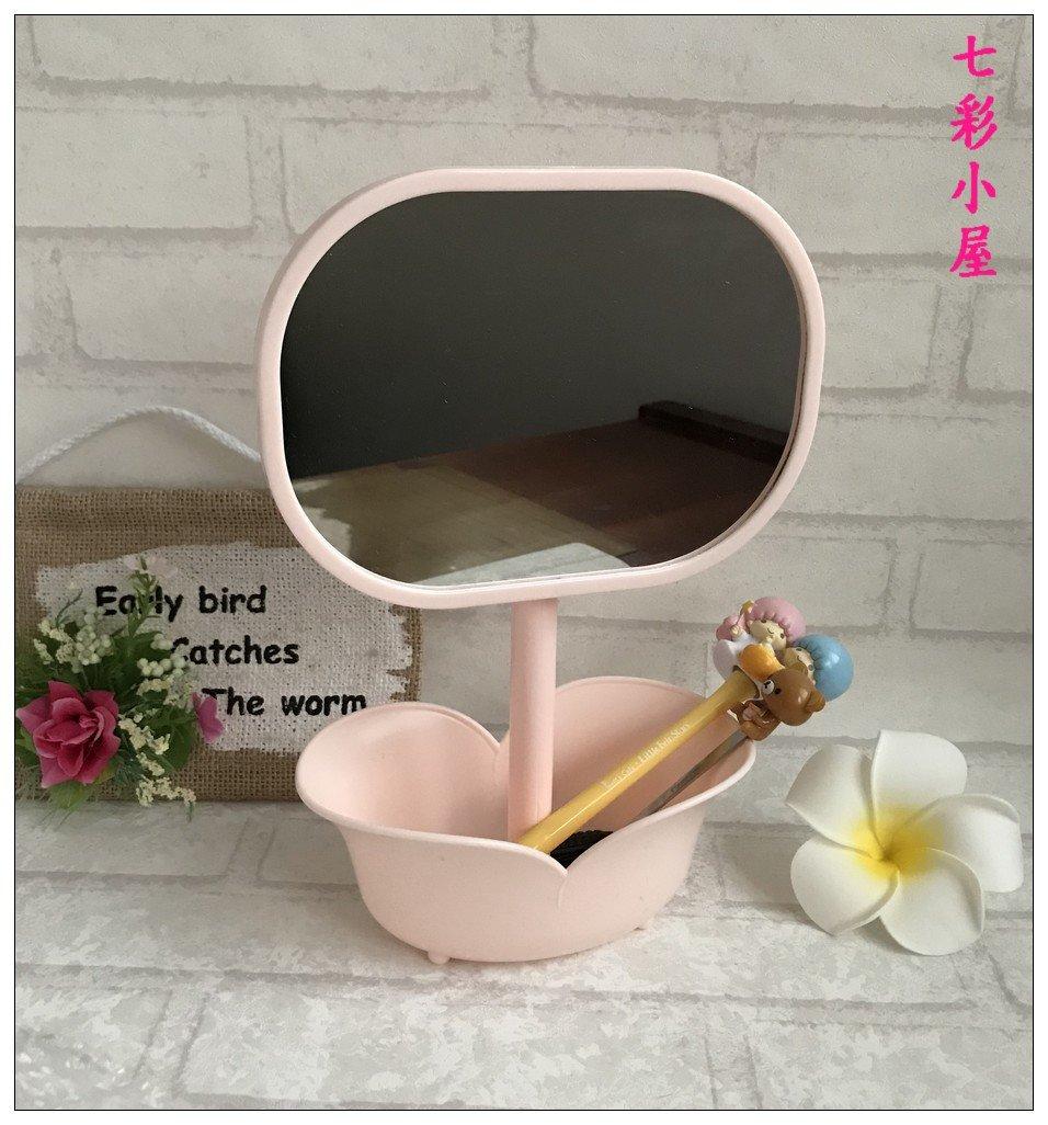 【七彩小屋】 花朵儲物美容鏡~台式桌面二合一收納化妝鏡~塑料 ~方便美容梳妝